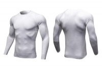 Men's Long Sleeve Compression Shirts Athletic White Gym Tops Base Layer [20181101-1]
