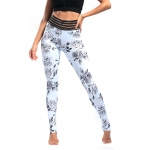 Women's Yoga Pants Floral White High Waisted Tights Gym Workout Leggings [20181012-1]