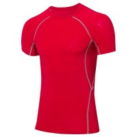 Men's Compression Shirts Summer Red Workout Tops Gym Running Tees