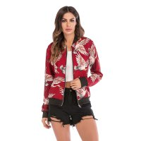 Women's Red Baseball Bomber Jacket Fashion Zip Up Outerwear