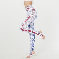 Printed Yoga Leggings With Stirrups Women's White Pants