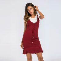 Women's Bodycon Dress Wine V-Neck Knitwear Lady Dresses