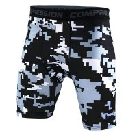 Men's Compression Shorts Grey Pixel Pattern Gym Leggings