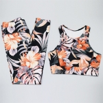 Women's Yoga Suits Orange Floral Crop Tank Top And Trousers Pants Workout Clothes