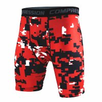Men's Compression Shorts Red Pixel Pattern Gym Leggings