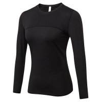 Women's Yoga Shirts With Thumb Holes Black Long Sleeve Gym Workout Tops