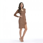 Women's Pencil Dresses Khaki Side Split Long Sleeve Lady Dress [20180704-2]