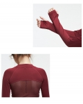 Women's Workout Crop Tops Red With Thumb Holes Long Sleeve Shirt [20190218-4]