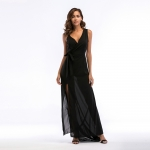 Women's Prom Dress Chiffon Side Slit Black V-Neck Maxi Dresses