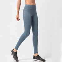 Women's Running Leggings With Side Pockets Grey Pants