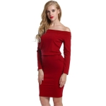 Women's Off Shoulder Dress Shaped LS Red Package Hip Skirt