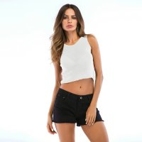 Women's Tank Tops Bare-midriff Thin White Knitwear Vest