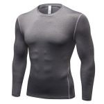 Men's Workout Tops Grey Long Sleeve Bodybuilding Fitness Gym Shirts