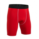 Men's Fitted Gym Shorts Tight Red 9 Inch Inseam Compression Shorts