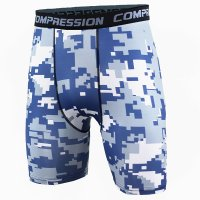 Men's Compression Shorts Blue Pixel Pattern Workout Leggings