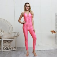 Women's Yoga Jumpsuit One Piece Pink Unitard Workout Romper