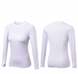 Women's Yoga Shirts With Thumb Holes White Long Sleeve Gym Workout Tops [20180924-2]