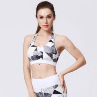 Women's Wireless Yoga Bra Grey&White Floral Sports Bra
