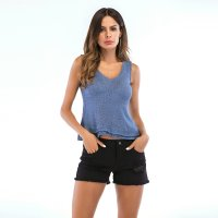 Women's U-Neck Blue Tank Tops Summer Falbala Knitting Vest