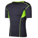 Men's Muscle Fit T-Shirts Slim Fit Tops Black Green Gym Workout Running Wear