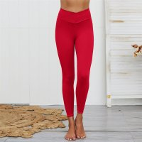 Women's High Waisted Gym Tights Red Workout Pants