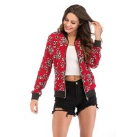 Women's Red Baseball Floral Bomber Jacket Varsity Zip Up Outerwear