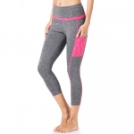 Women's Yoga Pants With Pockets For Phone Grey and Pink High Waist Workout Leggings