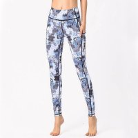 Women's Yoga Tights With Pockets Grey Floral Pants