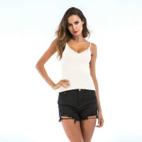Women's Camisole Tank Top White Sexy Leaf Pattern Knitwear Vest