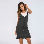 Women's Bodycon Dress Grey V-Neck Knitwear Lady Dresses