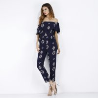 2018 Women's Jumpsuits Off Shoulder Square Print Shaped Blue Chiffon