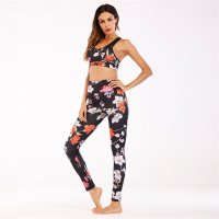 Women's Workout Bras Padded And Floral Yoga Pants Leggings