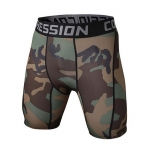Men's Compression Shorts Olive Camo Workout Tights