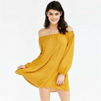 Women's Off-Shoulder Dress Yellow Chiffon Long-Sleeved Skirt