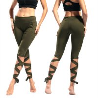 Women's Yoga Pants Short Green Slim Workout Capri Leggings