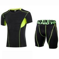Men's Workout Clothes Black Green Fitness Gym Wear Running Suits