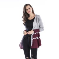 Women's Cardigan Claret Gradient Long Sleeve Open Front Shirt