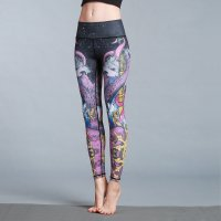 Women's Printed Fitness Tights Black&Pink High Waisted Pants