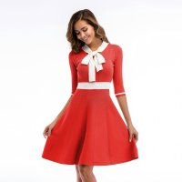 Women's Party Dress Half Sleeve Slim Fit Bow Tie Knitting Orangered Skirt