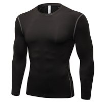 Men's Workout Tops Black Long Sleeve Bodybuilding Fitness Gym Shirts