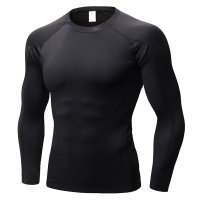 Men's Fitness Gym Tops Black Long Sleeve Bodybuilding Workout Shirts