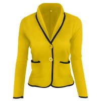 2018 Women's Blazers Yellow Two Buttons Casual Small Suit