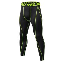 Men's Compression Pants Workout Tights Gym Green Athletic Training Leggings