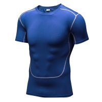 Men's Running Shirts Blue Workout Tops Quick Dry Training Fitness Gym Tees
