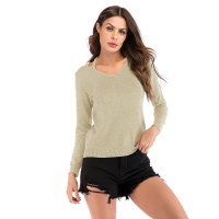 Women's Long Sleeve Tops Casual Knit Khaki V-Neck Shirt