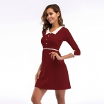 Women's Party Dress Half Sleeve Slim Fit Turnover Collar Knitting Claret Skirt [20180409-7]