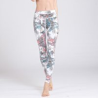 Printed Yoga Leggings Women's Grey&White Pants