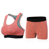 Women's Yoga Suits Orange Sports Bras And Yoga Shorts Workout Clothes