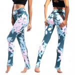 Women's Yoga Pants Floral Cyan Pink High Waisted Tights Gym Workout Leggings