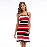 Women's Camisole Dress With Slits White Red Knitted Sheath Dresses